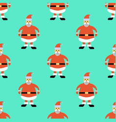 christmas seamless pattern with greeting santa vector image