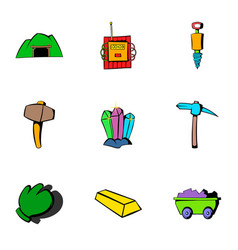 coalpit icons set cartoon style vector image