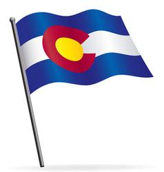 colorado state flag waving on flagpole vector image