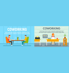 coworking banner set flat style vector image