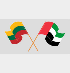 Crossed flags lithuania and united arab vector