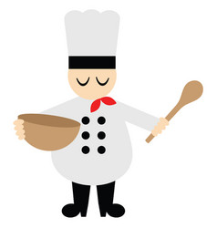 Cute chef with bowl and spoon vector