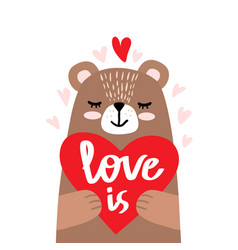 cute little bear holding heart vector image