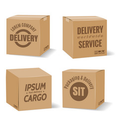 Delivery cardboard boxes with company logo vector