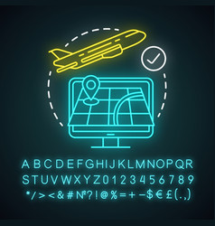 Departure city neon light icon plane flying up vector