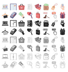 E-commerce set icons in cartoon style big vector