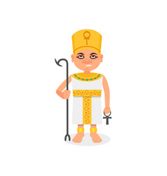 Egyptian pharaoh with scepter and ankh cross in vector