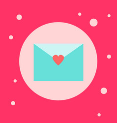 envelope with heart shape sticker icon on pink vector image
