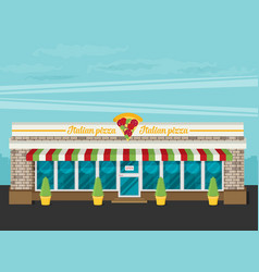 Facade of pizzeria flat vector