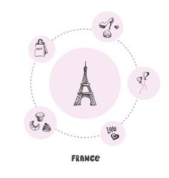 Famous France Symbols Doodle Concept vector