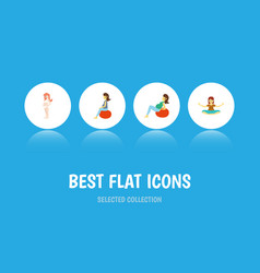 flat icon pregnant set of fitness meditation vector image