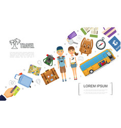 flat travel elements template vector image