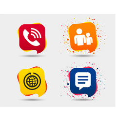 group of people and phone call speech bubble vector image