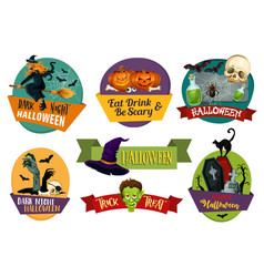 Halloween icons for party greeting vector