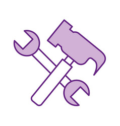 hammer and wrench tools vector image