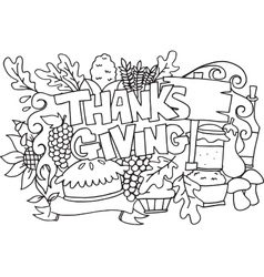 Hand draw element thanksgiving doodle art vector