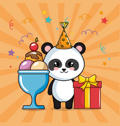 Happy birthday card with panda bear vector