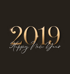 Happy new year design black background with 2019 vector