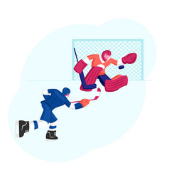 hockey game competition on ice rink attacking vector image