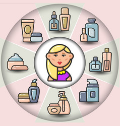 infographic set of beauty cosmetic tubes and woman vector image
