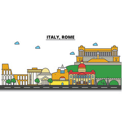 Italy rome city skyline architecture buildings vector