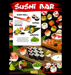 Japanese sushi rolls seafood temaki and sauces vector