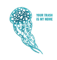 jellyfish stop ocean plastic pollution concept vector image