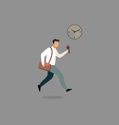 Journalist with microphone hurry up flat vector