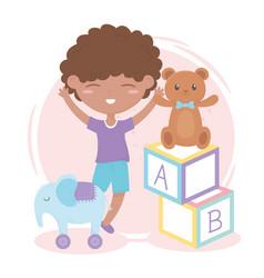 kids zone little boy alphabet blocks teddy bear vector image