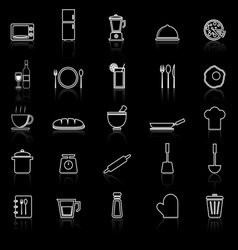 Kitchen line icons with reflect on black vector image