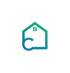 Letter c architect home construction creative vector