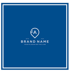 Letter fa pin logo design vector