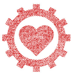 Love heart options gear fabric textured icon vector