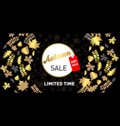 luxurious advertising banner with golden season fa vector image