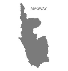 Magway myanmar map grey vector