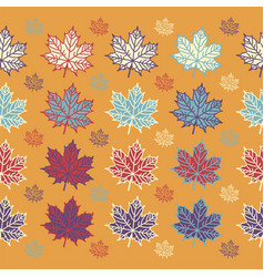 Maple leaves on orange background vector