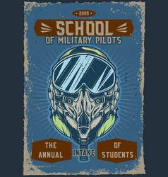 military pilot with a helmet vector image