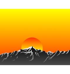 Mountains with sun vector