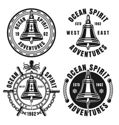 Nautical black emblems with ship bell isolated vector