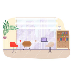 office workplace interior design flat vector image