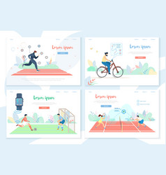 people doing sports activity with smart gadgets vector image