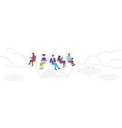 people floating on paper boat mix race men women vector image