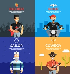 People Set Sailor Rocker Biker Cowboy Flat Design vector