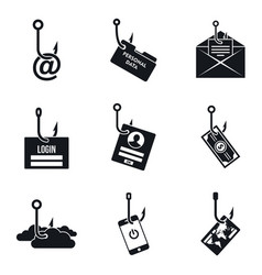 phishing email icon set simple style vector image