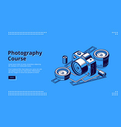 Photography courses classes isometric web banner vector