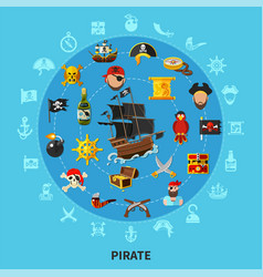 Pirate attributes cartoon composition vector