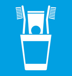 Plastic cup with brushes icon white vector
