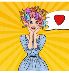 Pop Art Woman in Love with Flowers Hairstyle vector