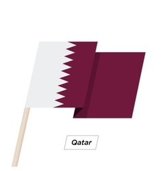 Qatar ribbon waving flag isolated on white vector