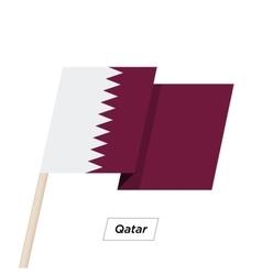 Qatar Ribbon Waving Flag Isolated on White vector image